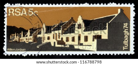 REPUBLIC OF SOUTH AFRICA - CIRCA 1974: A stamp printed in Republic of South Africa shows Country Guest House in Dutch Quarters of Tulbagh , circa 1974