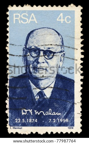 REPUBLIC OF SOUTH AFRICA - CIRCA 1974: A stamp printed in Republic of South Africa shows D.F. Malan, circa 1974