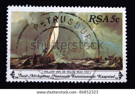 REPUBLIC OF SOUTH AFRICA - CIRCA 1980: A stamp printed in Republic of South Africa shows Waves in the boat, circa 1980