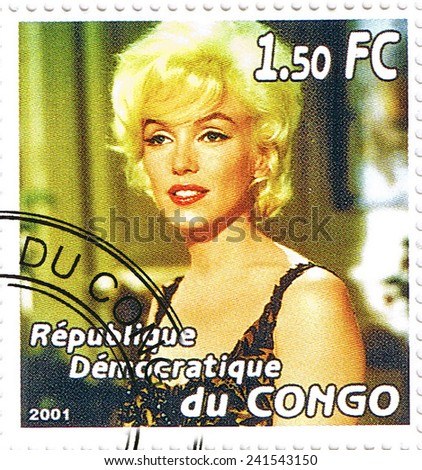 Republic of the Congo - CIRCA 2001: A stamp printed in Congo depicting an image of legendary Hollywood actress Marilyn Monroe, circa 2001 - stock photo
