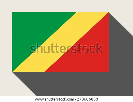Republic of the Congo flag in flat web design style. - stock photo
