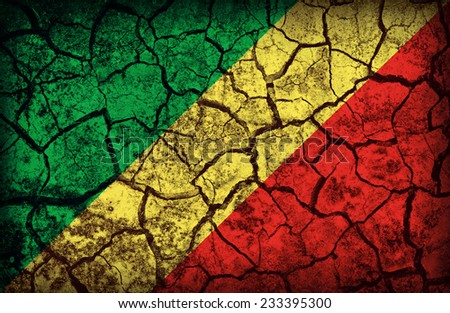 Republic of the Congo flag pattern on the crack soil texture ,retro vintage style - stock photo