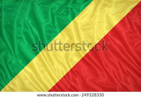 Republic of the Congo flag pattern on the fabric texture ,vintage style - stock photo