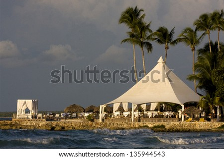 republica dominicana tourist tent coastline  peace marble and relax near the caribbean beach