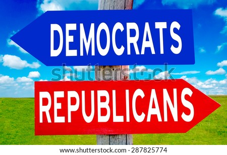Republican and Democrat sign with nature landscape in background  - stock photo