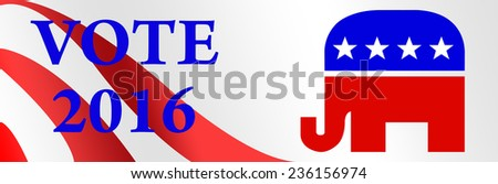 Republican bumper sticker for the 2016 Presidential election in the USA. - stock photo