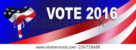 Republican bumper sticker for the 2016 Presidential election in the USA, with room to add Candidate name. - stock photo