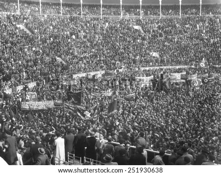 Republican Celebration is the Madrid Bull Ring. Called Popular Front, the Republicans, held Madrid throughout most of the Civil War, finally falling to Nationalist Forces in March 1939. 1936-1939. - stock photo
