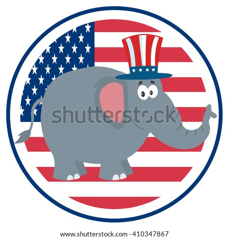 Republican Elephant Cartoon Character With Uncle Sam Hat Over USA Flag Label. Raster Illustration Flat Design Style Isolated On White