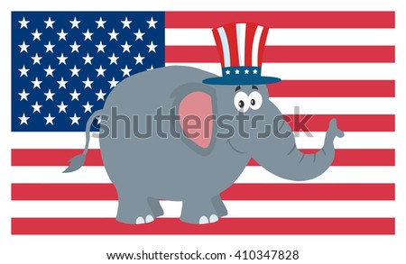 Republican Elephant Cartoon Character With Uncle Sam Hat Over USA Flag. Raster Illustration Flat Design Style