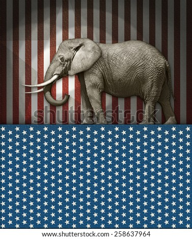 Republican Elephant on a Stars and Stripes Stage - stock photo