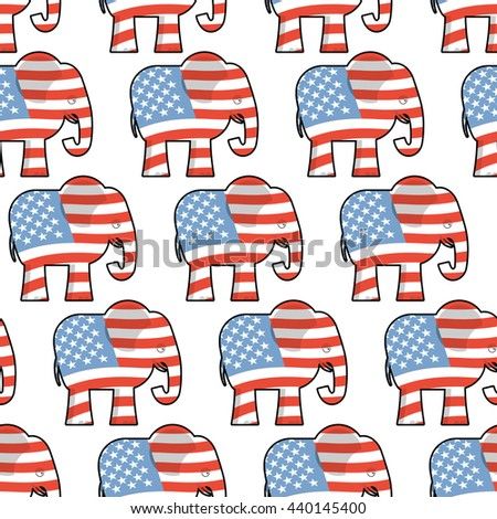 Republican Elephant seamless pattern. Elephant texture. Symbol of political party in America. Texture for election and debate USA. Political background - stock photo