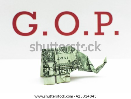 Republican Money Origami Elephant Made Dollar Stock Photo Royalty
