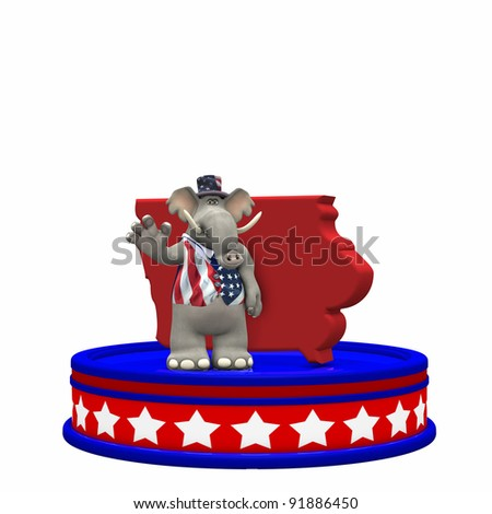 Republican Platform - Iowa Political Elephant standing on a red, white, and blue platform in front of a 3D Iowa. Isolated on a white background.
