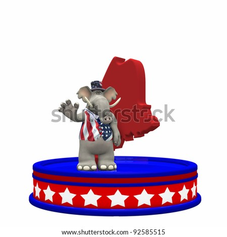 Republican Platform - Maine Political Elephant standing on a red, white, and blue platform in front of a 3D Maine. Isolated on a white background.