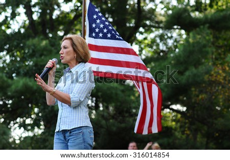 Republican presidential candidate Carly Fiorina speaks at the Strafford County GOP picnic in Dover, New Hampshire, on September 12, 2015. - stock photo