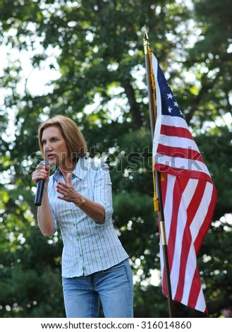 Republican presidential candidate Carly Fiorina speaks at the Strafford County GOP picnic in Dover, New Hampshire, on September 12, 2015.
