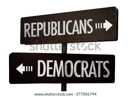 Republicans - Democrats signpost isolated on white background - stock photo