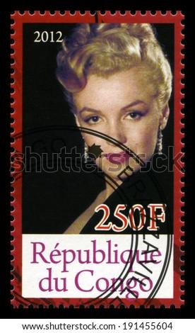 REPUBLIQUE DU CONGO - CIRCA 2012: A Postage Stamp from Congo depicting an image of legendary Hollywood actress Marilyn Monroe, circa 2012. - stock photo
