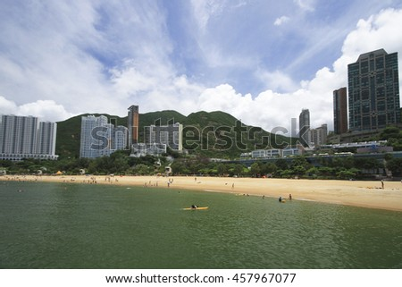 REPULSE BAY , HONG KONG - JULY1 : People at Repulse bay , Hong Kond during hot weather of summer on July 1 2016.