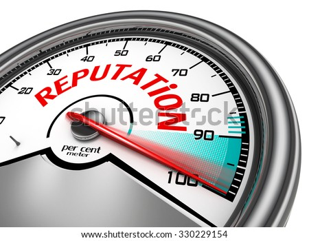 Reputation conceptual meter indicate hundred per cent, isolated on white background - stock photo