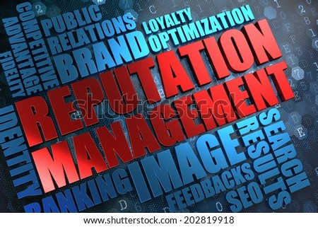 Reputation Management - Red Main Word with Blue Wordcloud on Digital Background. - stock photo