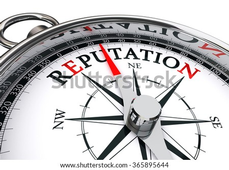 reputation word on concept compass, isolated on white background - stock photo