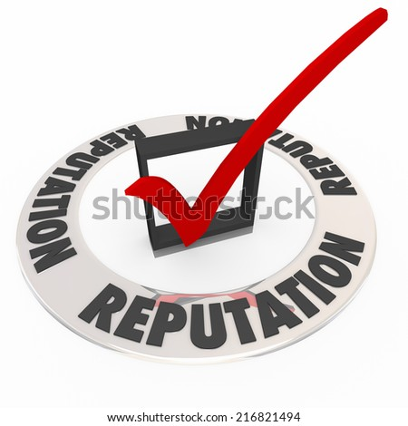 Reputation word on 3d ring around a check box and mark as a seal or certification for the most reputable or credible product, service, company or business - stock photo