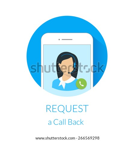 Request a call back webform design with call center operator and smartphone. Free font Lato - stock photo