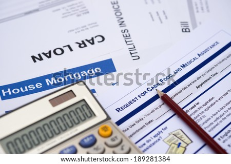request for cash and food application with calculator, financial concept - stock photo