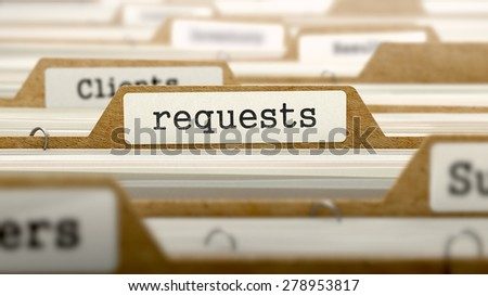 Requests Concept. Word on Folder Register of Card Index. Selective Focus.