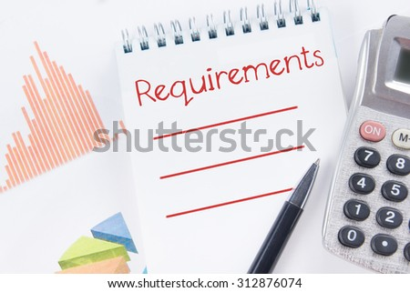 Requirements - Financial accounting stock market graphs analysis. Calculator, notebook with blank sheet of paper, pen on chart. Top view - stock photo