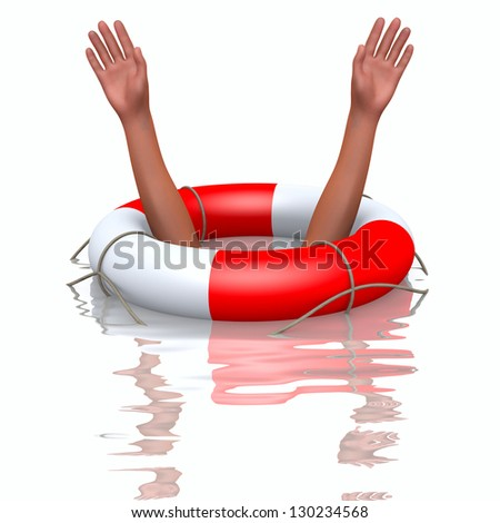 Rescue buoy and drowning hands, concept of helping - stock photo