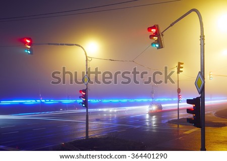 Rescue car lights in action at the night - Prague, Czech Republic - stock photo
