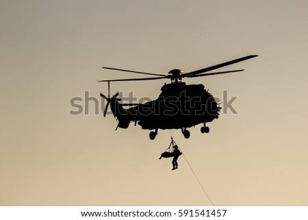 Rescue operation from a helicopter