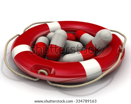 Rescue pills. Concept. The capsules are inside lifeline. Isolated on a white surface