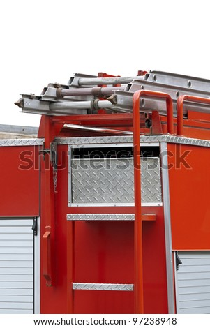 Rescue red fire truck equipment