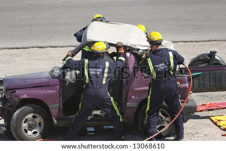 Rescue Team trying to rescue an accident victim