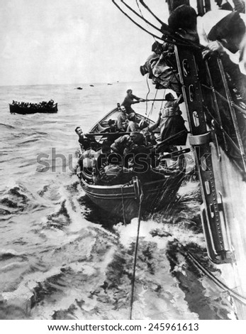 Rescued military passengers from the French Liner Sontay, sunk by a WWI German submarine on April 16, 1918.