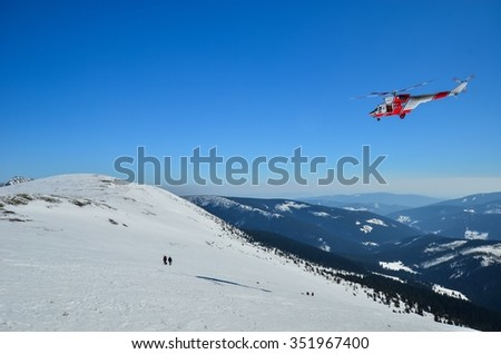 Rescuers are in mountains