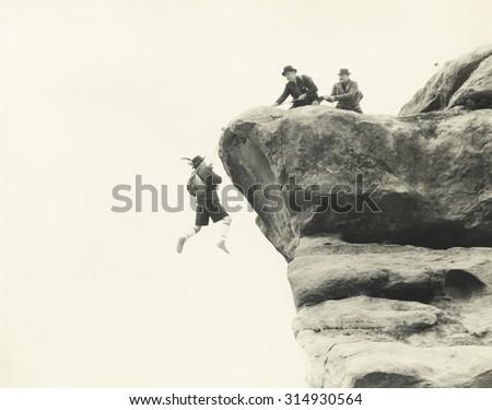 Rescuing mountain climber - stock photo