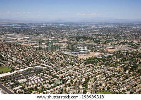 Research and Office Park along the Loop 101 freeway bordering Tempe and Chandler, Arizona - stock photo