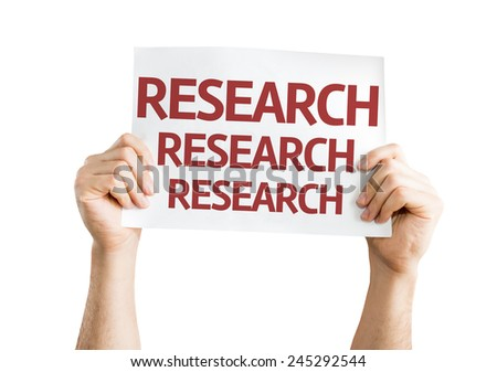 Research card isolated on white background - stock photo