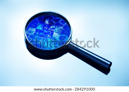 Research concept. Magnifying glass.
