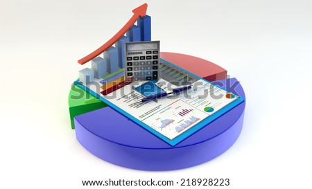Research concept office calculator bar graph stock illustration research concept office calculator bar graph pen and eyeglasses on financial reports in ccuart Gallery