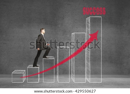 Research concept with businessman climbing on abstract business chart