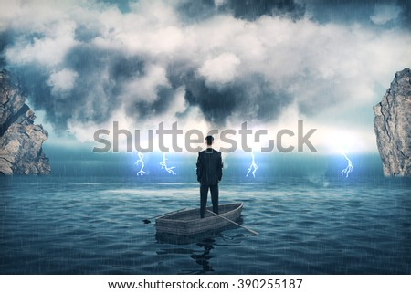 Research concept with businessman in boat in the middle of the sea and cloudy skies.