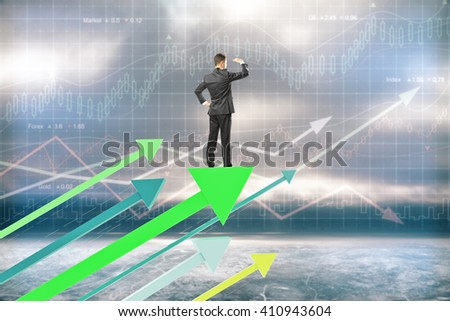 Research concept with businessman on green arrows and forex background - stock photo