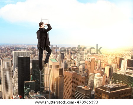 Research concept with businessman on tall ladder looking into the distance on sunlit city background