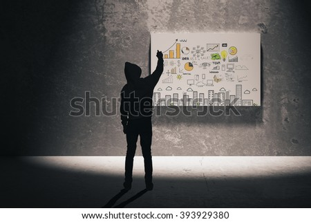 Research concept with man silhouette in the middle drawing business charts on illuminated board. 3D Render - stock photo